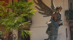 Angel Statue outside Verona Cathedral, ULTRA HD 4k, real time Stock Footage