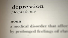 Depression Definition Stock Footage