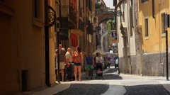 People on a narrow street in Verona, ULTRA HD 4k, real time Stock Footage