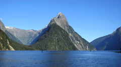 New Zealand Milford Sound Mitre Peak and cirque Stock Footage