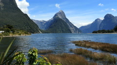 New Zealand Milford Sound Mitre Peak vista Stock Footage