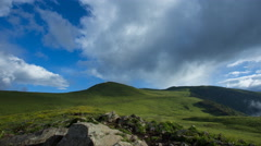 4k timelapse of beautiful high mountain grassland, with fast moving clouds Stock Footage