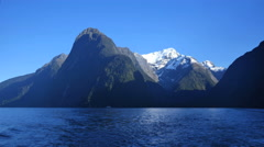 New Zealand Milford Sound snow on peak Stock Footage