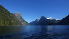 New Zealand Milford Sound view with snow on peak Stock Footage