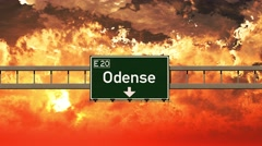 4K Passing Odense Denmark Highway Sign in the Sunset Stock Footage