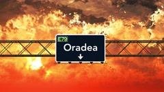4K Passing Oradea Romania Highway Sign in the Sunset Stock Footage