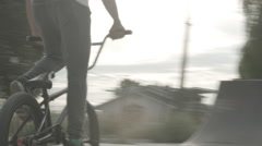Bmx Bike Young Guy Rider Performing Tricks In Skate Park At Sunset Stock Footage