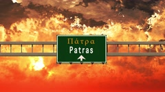 4K Passing Patras Greece Highway Sign in the Sunset Stock Footage