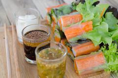 Imitation Crab Stick Salad Rolls Stock Photos