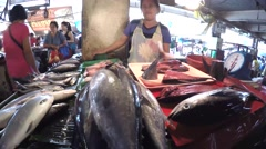 Asian woman sells various fish at stall wet market. Stock Footage