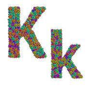 Letter K made from bromeliad flowers isolated on white background with clippi Stock Photos