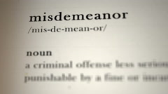 Misdemeanor Definition Stock Footage