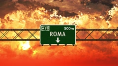 4K Passing Roma Italy Highway Sign in the Sunset - stock footage
