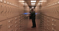 Man at Microfilm storage Genealogy LDS Church Utah DCI 4K - stock footage