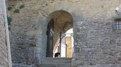 San Leo (Rimini), Italy. The medieval fortress. Cat at the main door Stock Footage