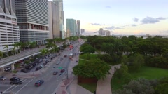 Aerial footage Downtown Miami Biscayne Stock Footage