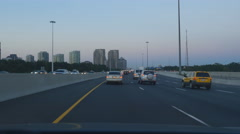 Driving east on Highway 401 at dusk in Toronto, Ontario, Canada. Stock Footage