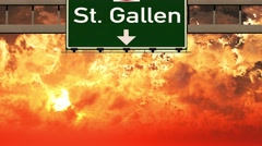 4K Passing St Gallen Switzerland Highway Sign in the Sunset Stock Footage