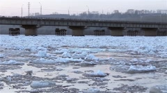 Spring break, floating, drifting, ice on the river against the background of the Stock Footage