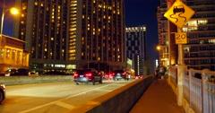Pedestrian walkway Brickell Bridge at night Stock Footage
