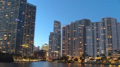 Panning view of Brickell Key Miami FL Stock Footage