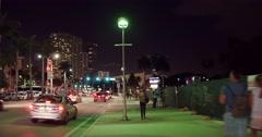 Biscayne sidewalk night video Stock Footage