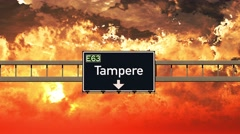 4K Passing Tampere Finland Highway Sign in the Sunset Stock Footage