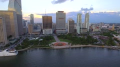 Aerial video Bayfront Park Miami Stock Footage
