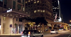 Biscayne Boulevard Downtown Miami night Stock Footage