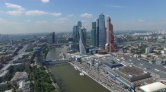 Best aerial approach to Moscow city modern business center. Blue steel and glass Stock Footage