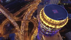Modern buildings capital of Russia. Road traffic from above. Aerial quadcopter Stock Footage