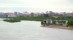 Beautiful view of Ob River in Novosibirsk. 1920x1080 Stock Footage