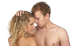 Closeup portrait of young beautiful naked couple - stock photo