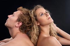 Closeup portrait of young beautiful couplea - stock photo