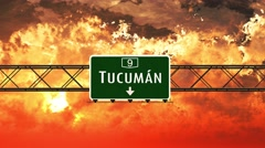 4K Passing Tucuman Argentina Highway Sign in the Sunset Stock Footage