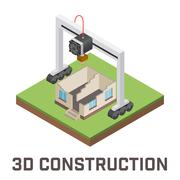 Industrial 3D printer prints a house concept. Isometric vector illustration Stock Illustration