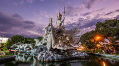 Timelapse View of Patung Satria Gatotkaca Monument at Sunset, Bali, Indonesia Stock Footage