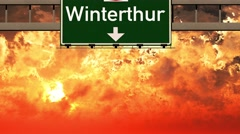 4K Passing Winterthur Switzerland Highway Sign in the Sunset Stock Footage