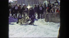 1956: Race start winter sled dog racing iditarod snow covered sporting event. Stock Footage
