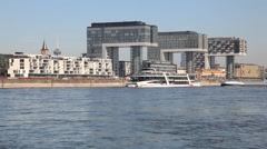 Crane houses and river Rhine in Cologne, Germany Stock Footage