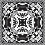 Black and white authentic silk neck scarf or kerchief square pat Stock Illustration