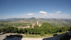 San Leo (Rimini), Italy. Medieval village. Landscape from the medieval fortress. Stock Footage