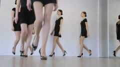 Young models have repetition in dancing class before fashion show Stock Footage