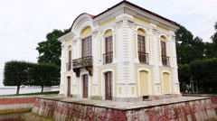 Peterhof Hermitage Pavilion, elegant two-story building at Lower Gardens Stock Footage