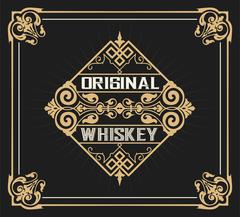 Art-deco Whiskey label Stock Illustration
