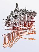 Original digital sketch of Kyiv, Ukraine town landscape, pleinai Stock Illustration