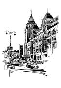 Original black and white digital sketch of Kyiv, Ukraine town la Stock Illustration