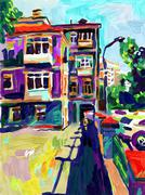 Original plein air digital oil painting, town old street in summ Stock Illustration