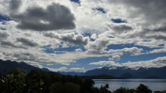 New Zealand Lake Manapouri dramatic clouds Stock Footage