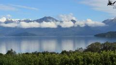 New Zealand Lake Manapouri slow pan Stock Footage